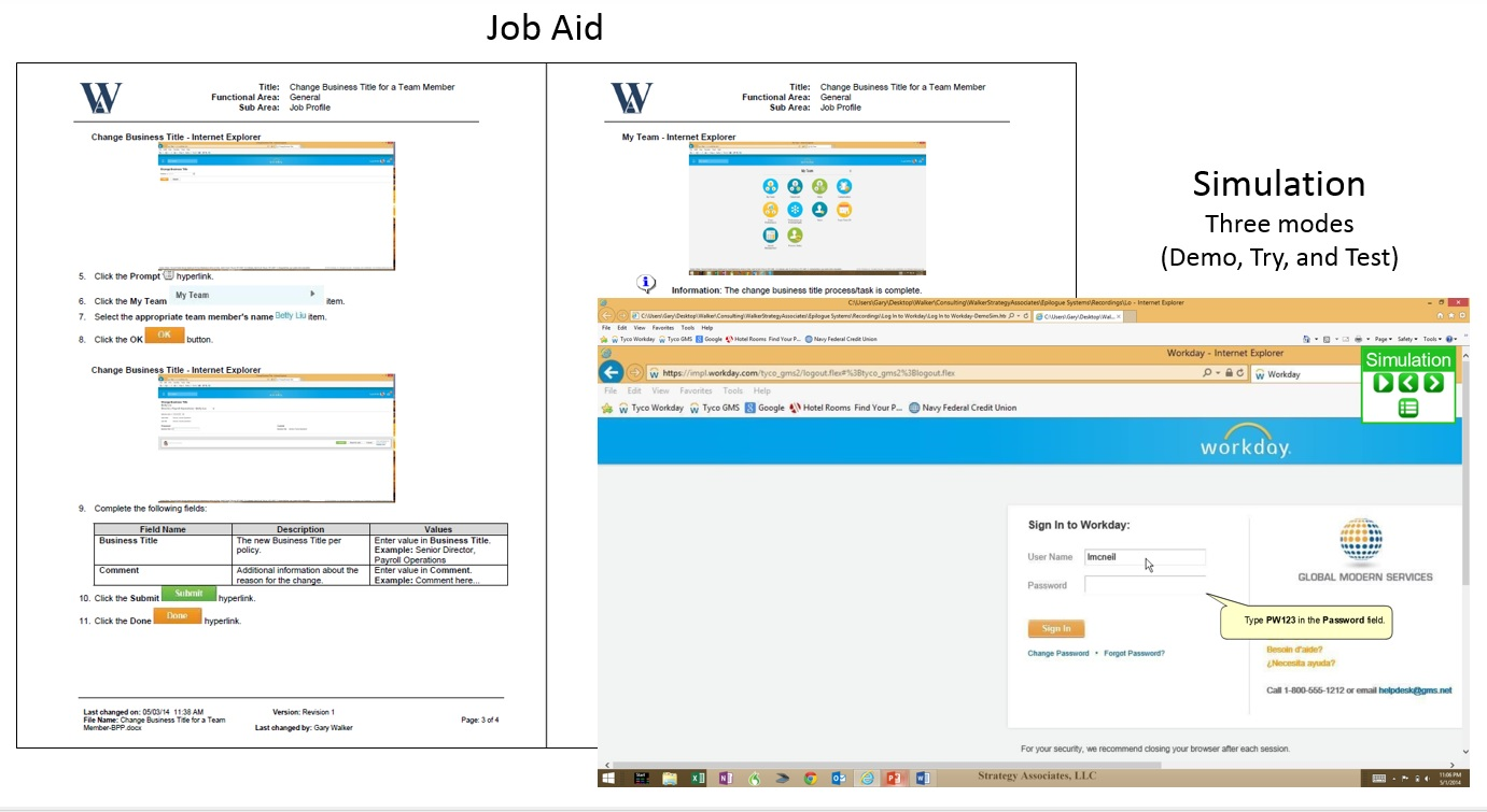 Job Aid and Simulation Graphic